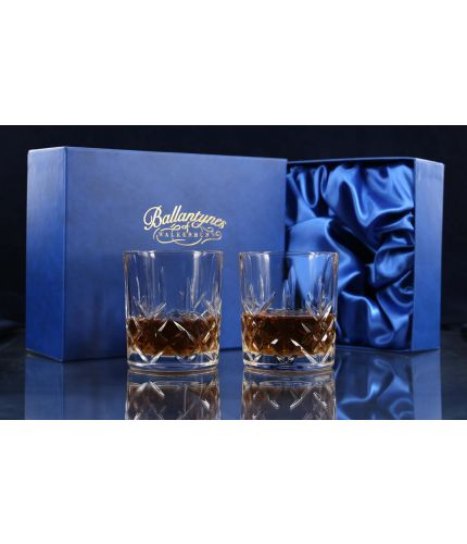 A fully cut pair of 24% Lead Crystal Whisky Tumblers. The set is completed inside a dark blue satin lined presentation box.