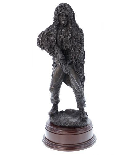 """12"""" scale cold cast bronze resin sculpture of a Parachute Regiment Sniper with the L115A3 Rifle"""