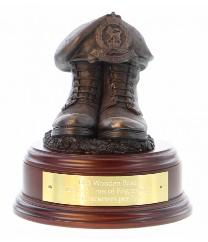 Adjutant General's Corps Boots and Beret, cast in cold resin bronze and we offer this Boots and Beret on a choice of presentation bases, the BB2, BB3 and BB4 have room to add an engraved plate.