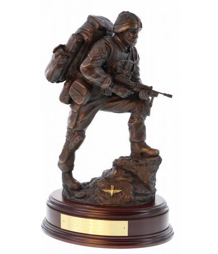 "'Point Man' Paratrooper in a 12"" scal. Cold cast bronze resin sculpture of a Paratrooper during Op Herrick in Afghanistan. We include the brass plate on the wooden base"