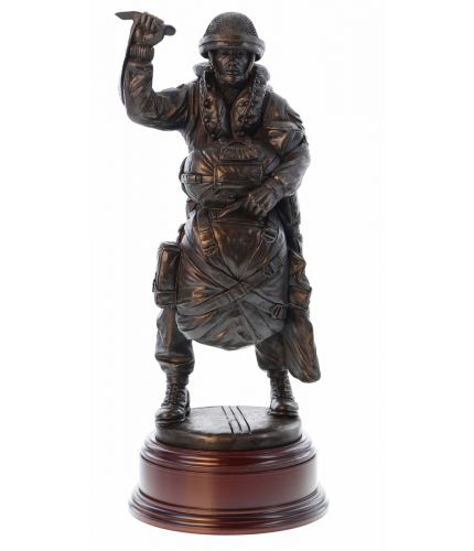"Pink MASTER Sculpture - LLP 'Red On' - 12"" scale cold cast bronze resin sculpture of a modern British Airborne Forces Paratrooper. An engraved brass plate is included."