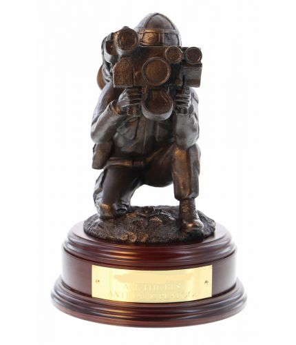British Army Anti Tank Javelin sculpture, makes and Ideal regimental, Battalion, or sub unit farewell presentation award. Also a gift for a serving member or veteran of the British Army. Wooden base and engraved brass plate are included