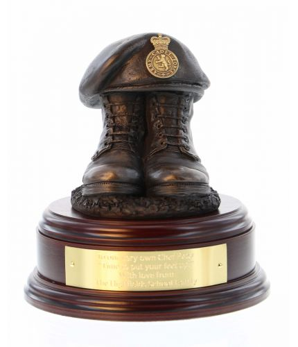 Womans Royal Army Corps (WRAC) Boots and Beret with, depending on the base you select, an optional engraved brass plate.