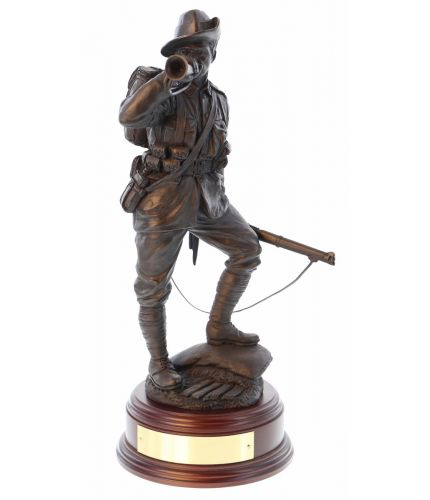"This is a 12"" scale sculpture of an Australian Army Soldier during World War One. We include this wooden base as standard and offer an engraving plate free of charge."
