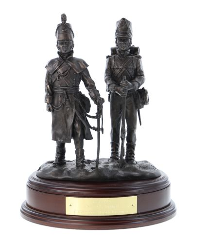 A Rifleman and Officer of the 95th Rifles at Corunna in 1808. 200th Anniversary sculpture of the Rifle Brigade