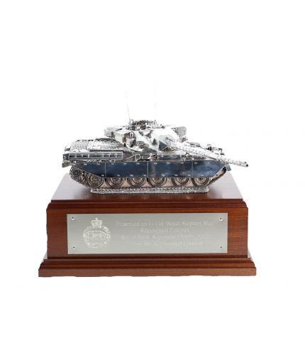 Chieftain Main Battle Tank Silver on a Mahogany Base