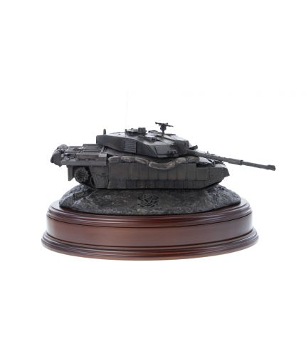British Army Challenger 2 Main Battle Tank, Desertised, Bronze. The sculpture is mounted on a wooden base which is designed to take a cap badge and engraved plate. It makes an ideal military farewell gift or commemorative piece.