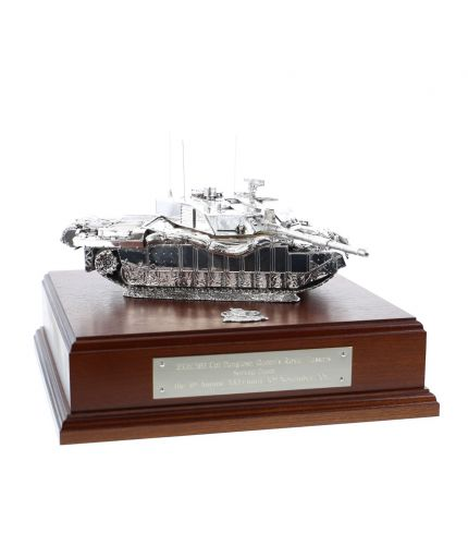 Challenger 2 Main Battle Tank Silver on a Mahogany Base.