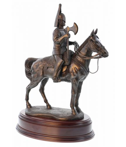"This is a 14"" tall sculpture of a Blues and Royals British Army Cavalry Regiment Farrier.  We mount for finished piece on its own wooden base and can add an engraved plate with the text of your choice."