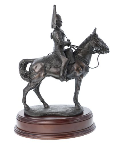 "This is a 14"" tall sculpture of a Blues and Royals British Army Cavalry Regiment Trooper.  We mount for finished piece on its own wooden base and can add an engraved plate with the text of your choice."