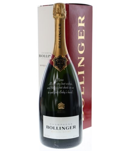 A MAGNUM bottle of Bollinger Special Cuvée Champagne which we've engraved with a message above the front label. The text and design if the message is entirely up to you. We also have a full library of images if required