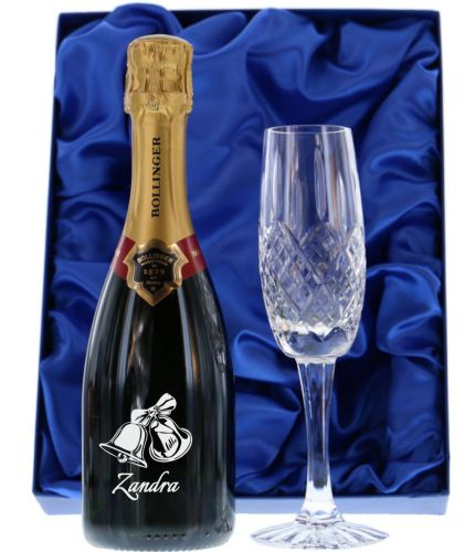 Fully personalised boxed half bottle of Bollinger Special Cuvée Champagne and flute. Truely magnificent gifts for your friends, family and colleagues, this beautiful gift boxed Champagne set is a great gift for a Wedding or Birthday.