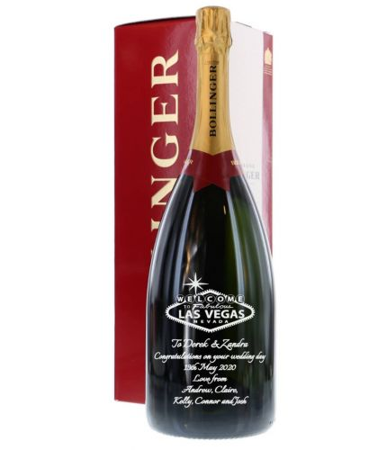 A fully engraved MAGNUM bottle of Bollinger Special Cuvee Champagne which we've engraved with a message of your choice. The text and design if the message is entirely up to you. We also have a full library of images if required
