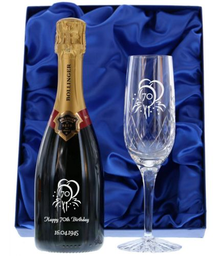 Fully personalised boxed half bottle of Bollinger Special Cuvée Champagne and an engraved flute. Truely magnificent gifts for your friends, family and colleagues, this beautiful gift boxed Champagne set is a great gift for a Wedding or Birthday.