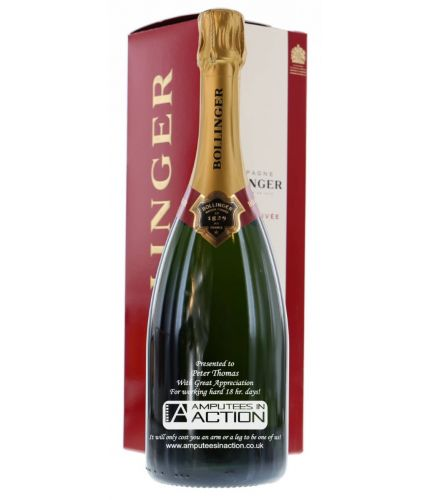 We offer a fully personalised 75cl bottle of Bollinger Special Cuvée, Champagne.  After ordering we sort out the exact egraving details with you and send a draft for final approval before cutting the glass. These champagne bottles make magnificent gifts.