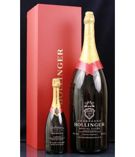 Fully personalised boxed METHUSELAH bottle of Bollinger Special Cuvée Champagne. 600cl's of one of the finest sparkling French Champagnes available. Truely magnificent gifts for your friends, family and colleagues, this is a beautiful gift boxed gigantic