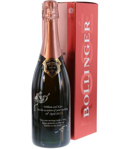 Fully personalised boxed 75cl bottle of Bollinger Rose Special Cuvée Champagne. A Sparkling French Rose Champagne. Truely magnificent gifts for your friends and family, this beautiful gift boxed Champagne is a great gift for a Wedding, or Anniversary.
