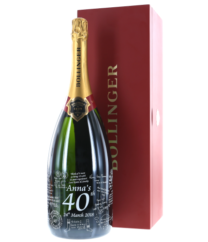 Fully personalised boxed JEROBOAM bottle of Bollinger Special Cuvée Champagne. 300cl's of one of the finest sparkling French Champagnes available. Truely magnificent gifts for your friends, family and colleagues, this is a beautiful gift boxed Champagne B
