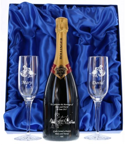 Fully personalised boxed bottle of Bollinger Special Cuvée Champagne and two engraved flutes. Truely magnificent gifts for your friends, family and colleagues, this beautiful gift boxed Champagne set is a great gift for a Wedding or Birthday.