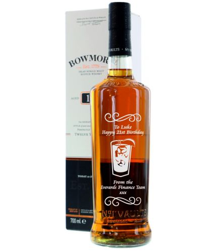 A bootle of Bowmore Single Malt Scotch Whisky, 12 Years Old. We engrave to your exact specifications and will sort thiso ut after you order. We will provide you with a pre-engraving draft before we commence work.