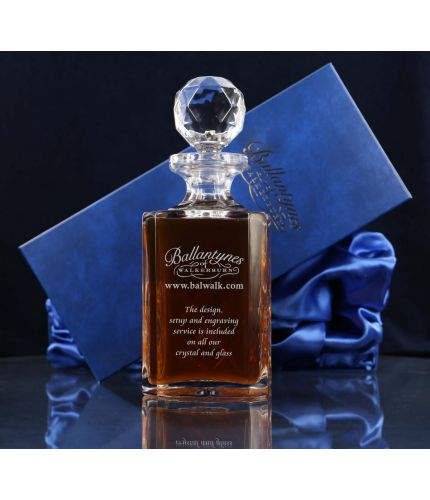 Hand engraved crystal square decanter in gift box