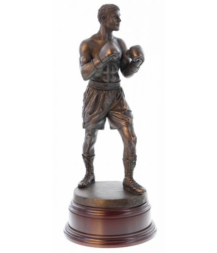 """12"""" Scale cold cast bronze fine art sculpture of a modern boxer in a classic pose. It's the perfect presentation at any event or occasion involving boxing. As part of the standard service we can provide a fully engraved brass plate on the base."""