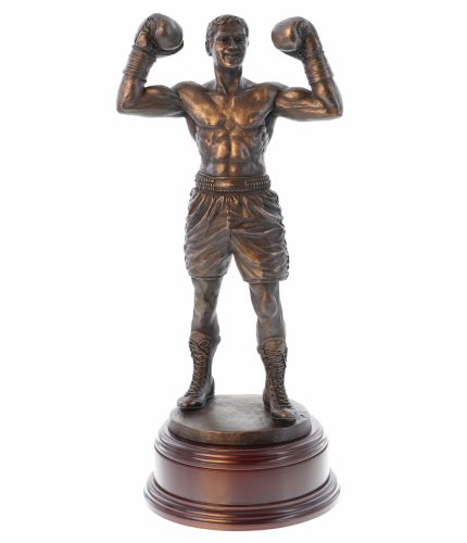 """12"""" Scale cold cast bronze fine art sculpture of a modern boxer in a classic pose. As you can see he's a magnificent sculpture with a great physique. Its the perfect presentation at any event or occasion involving boxing. As part of the standard service t"""