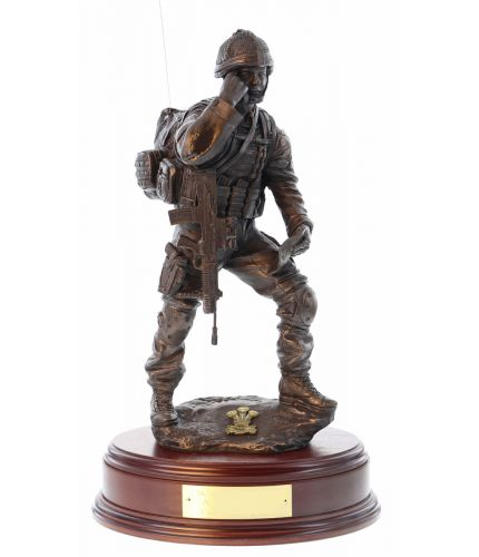 "British Army ""Contact"" Signaller. This is a 12"" scale statue of a modern combat front line signaller. We include this wooden base as standard, and you can also add a badge and engraving plate free of charge."