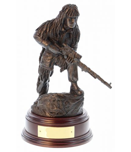 "12"" scale cold cast bronze resin sculpture of a British Army Sniper with  L96 rifle. Becoming a sniper is one of the most difficult specialisations in the infantry with only a few applicants ever making it through selection and training. We include the wo"
