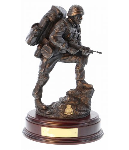 British Soldier acting as a Point Man in a 'fire team'. He's the eyes and ears of the patrol. This piece was sculpted in 2014 during the Op Herrick (Afghanistan) Era. The Wooden base and an engraved brass plate are included.