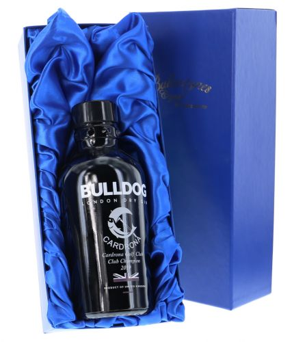 Here we offer this 70cl bottle Bulldog London Dry Gin engraved with a personal design of your choice. We include a blue satin box with all online orders