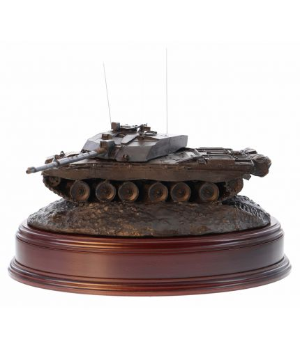 This is a scale replica of a Challenger 2 Main Battle Tank cast in Cold Cast Bronze. We include the wooden base and an engraved brass plate if required.