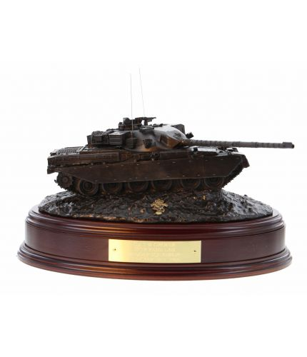 British Army Chieftain Main Battle Tank in the cold cast bronze finish. We mount it on this base as standard and you can have the badge of your choice mounted on the base.