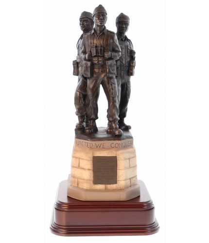 "Our statue is an exact 8"" scale replica of the Commando Memorial at Spean Bridge, the men on top are finished is bronze resin and the base is hand painted to match the full size monument."