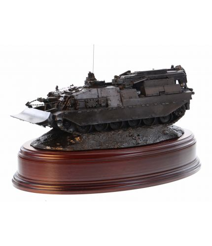 A military presentation piece of a REME CRAARV Armoured Recovery Vehicle. We offer this piece mounted onto a choice of wooden bases. We provide the brass engraved brass plate free of charge as part of the service.