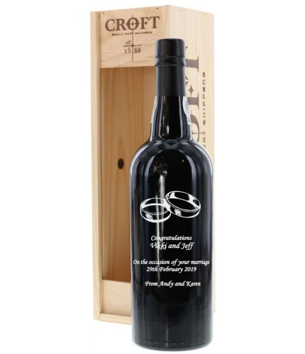 A bottle of engraved Croft Quinta da Roêda Vintage Port with your own design on the front. We sort out all your engraving, including sending you a pre-production proof after you order.