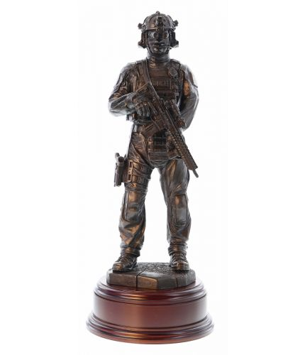 THIS IS THE WAX MASTER. A hand made bronze cold cast resin statue of a British Counter Terrorist Specialist Firearms Officer. The sculpture is 12 Inches tall, we include the standard wooden base and an engraved brass