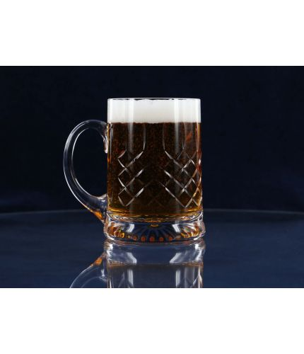 Beer Tankard, Panel Cut, Straight Sided, Hand Engraved