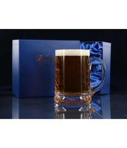 Beer Ale Tankard, Panel Style and Hand Engraved in its own blue satin box as seen here. We sort out the engraving later and will send you a draft for approval prior to engraving.