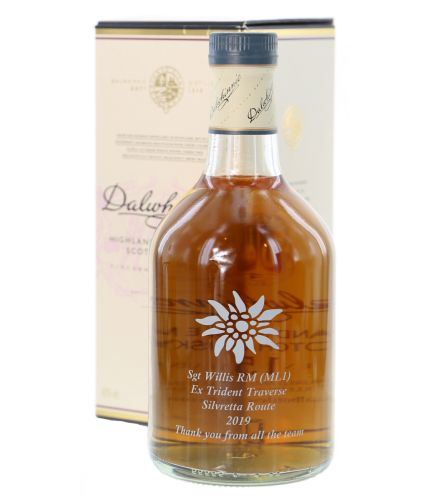 A bottle of 15 Year old Dalwhinnie Single Malt Highland Scotch Whisky. This bottle comes fully engraved with the brand and legal information on the back and your own design on the front.