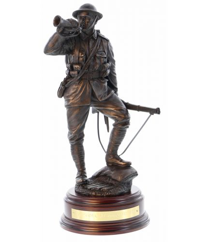 'Duty Calls'. A Regimental Bugler calls forward the Battalion Reserves during an attack in Flanders. This is a lovely World War One statue asnd is a fitting tribute to all our forebears that served during World War 1. This is the cold cast bronze version