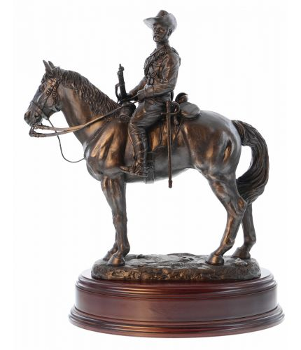 This is a mounted Officer of the Scottish and North Irish Horse Yeomanry on patrol during the South African Boer War. We've made this as a commission item in Bronze and Silver for the Regimental Officers' Mess.