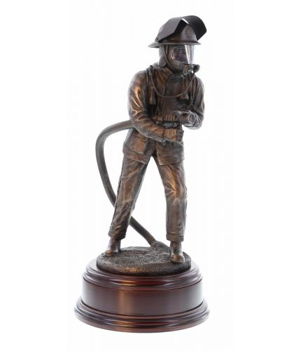 British Firefighter with a branch circa 1998 Bronze Fire Service Statue with a personalised engraved brass plate to make a great gift for a retiring fireman after years of service. If you ask for painting we will discuss with you the colour scheme you lik