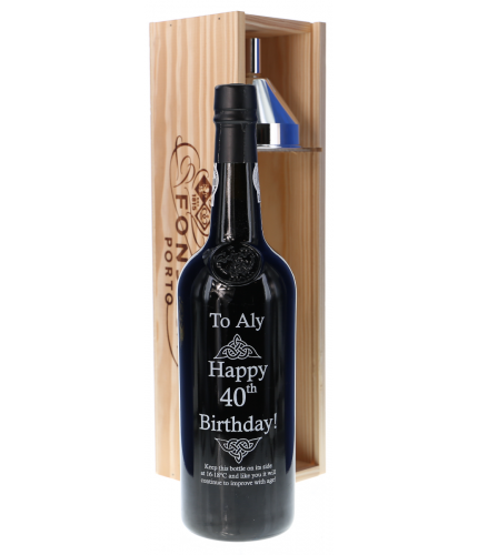 An engraved bottle of Fonseca Guinaraens Vintage Port. We include the design, setup pre-approval and engraving service as part of this product. Fonseca port makes an excellent gift idea for weddings, christenings, anniversaries and at Christmas