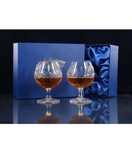 Boxed Pair of Fully Cut Brandy Goblets