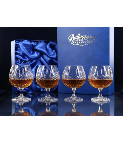 Boxed Set Of Four Fully Cut Brandy Goblets