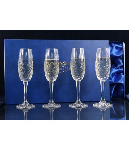 A set of four fully cut Crystal Panel Style Champagne Flutes presented in a lovely satin lined dark blue gift box. An ideal gift to commemorate a very special occasion. Please allow 3 - 5 business days for delivery.