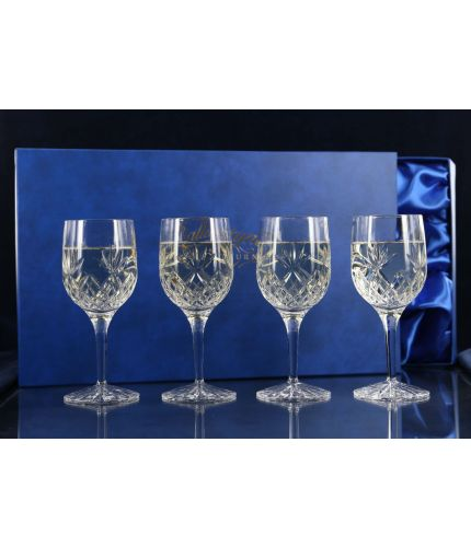 Four Fully Cut Red Wine Goblets, Boxed
