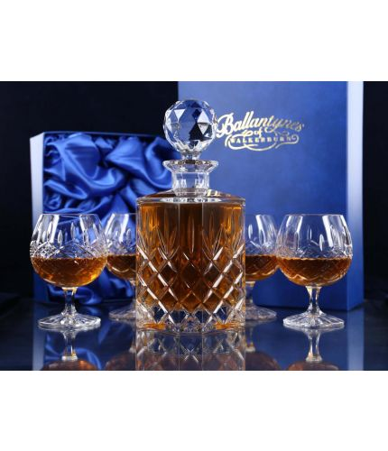 Fully Cut Crystal Square Decanter And Four Brandy Goblets In Gift Boxes