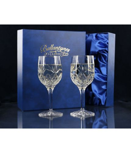 Pair of Fully Cut White Wine Glasses, Gift Boxed